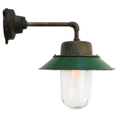 Green Enamel Vintage Industrial Clear Glass Scone Wall Light