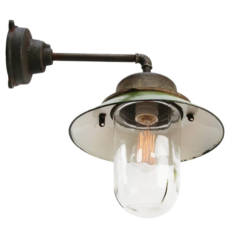Cast Green Enamel Vintage Industrial Clear Glass Scones Wall Light For Sale