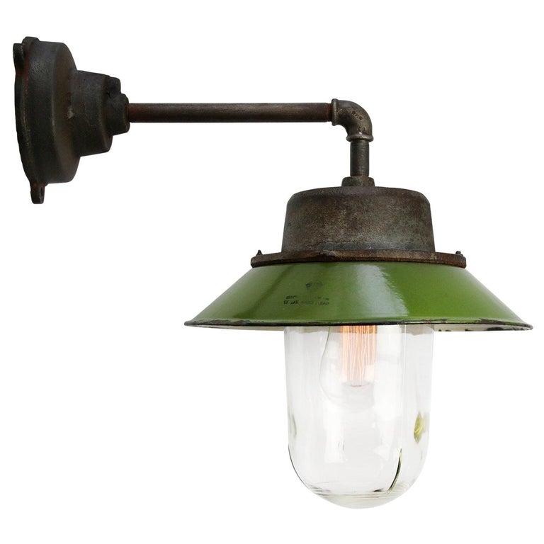 Green Enamel Vintage Industrial Clear Glass Scones Wall Light For Sale