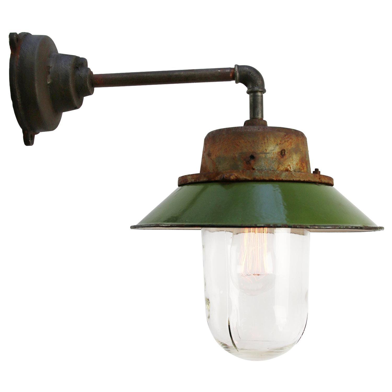 Green Enamel Vintage Industrial Clear Glass Scones Wall Light