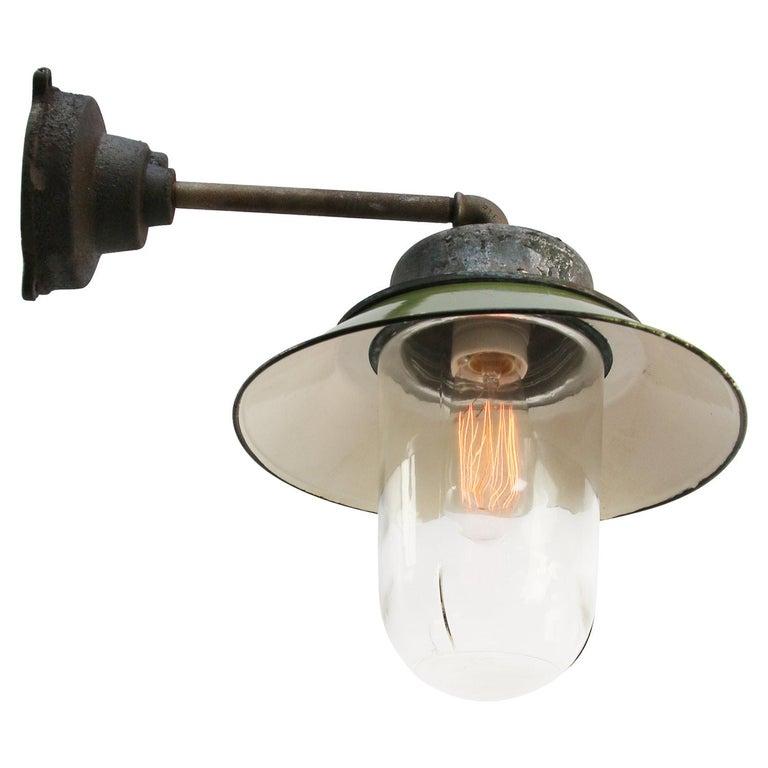 Cast Green Enamel Vintage Industrial Clear Glass Scones Wall Lights