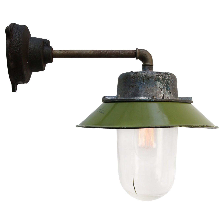 Green Enamel Vintage Industrial Clear Glass Scones Wall Lights