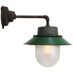 Green Enamel Vintage Industrial Frosted Glass Scones Wall Lights