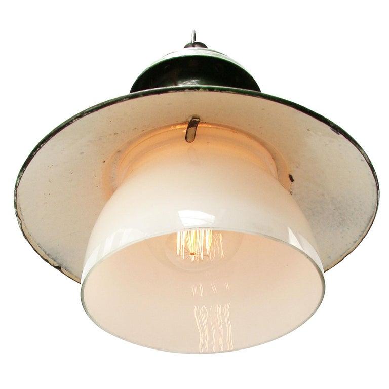 Ukrainian Green Enamel Vintage Industrial Opaline Glass Pendant Lights For Sale