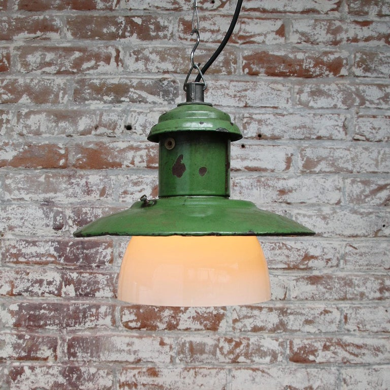 Green Enamel Vintage Industrial Opaline Glass Pendant Lights In Good Condition For Sale In Amsterdam, NL