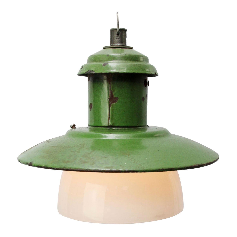 Green Enamel Vintage Industrial Opaline Glass Pendant Lights