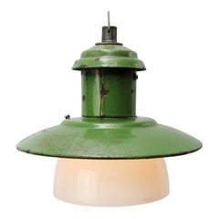 Green Enamel Vintage Industrial Opaline Glass Pendant Lights