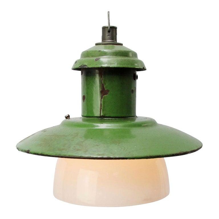 Green Enamel Vintage Industrial Opaline Glass Pendant Lights For Sale