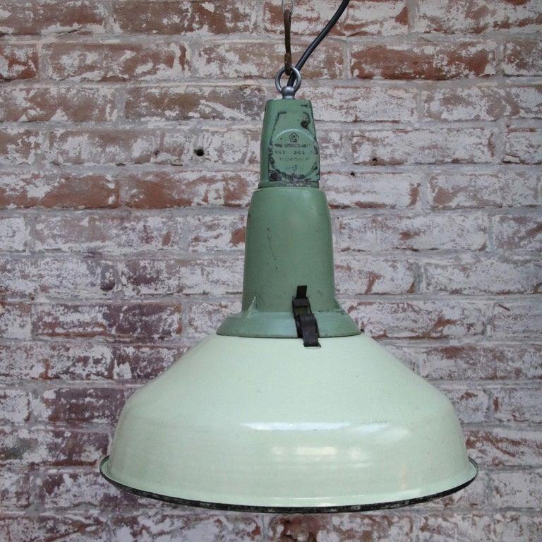 Cast Green Enamel Vintage Industrial Pendant Lamp For Sale