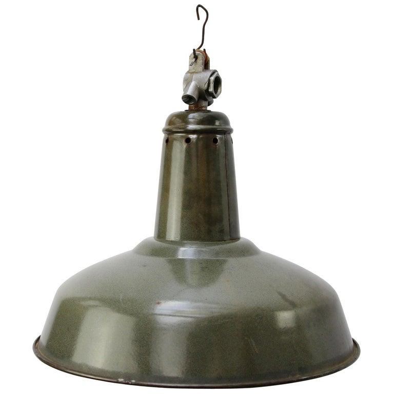 Green Enamel Vintage Industrial Pendant Light For Sale