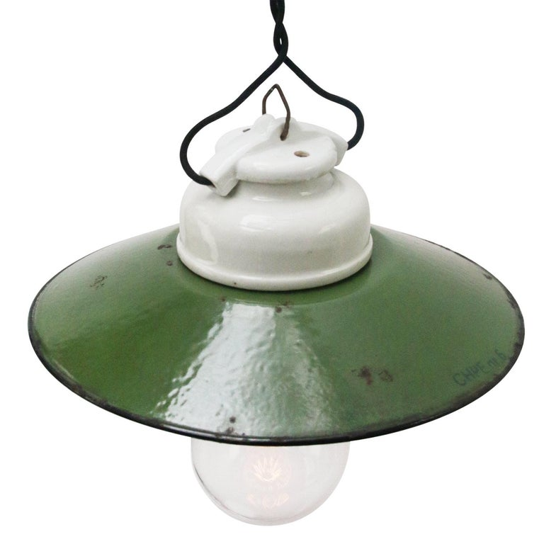 Porcelain industrial hanging lamp. White porcelain and clear glass. Enamel shade 2 conductors, no ground.  Weight: 1.30 kg / 2.9 lb  Priced per individual item. All lamps have been made suitable by international standards for incandescent