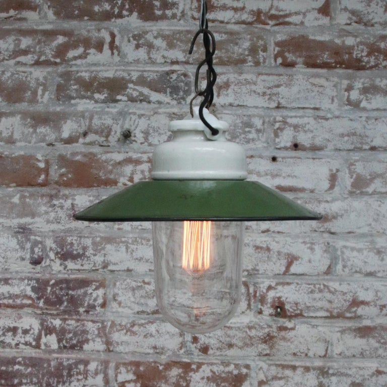 Green Enamel Vintage Industrial Porcelain Clear Glass Pendant Lights In Good Condition For Sale In Amsterdam, NL