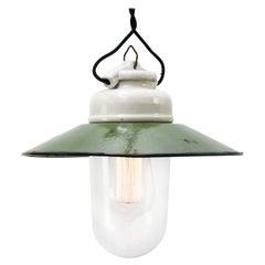 Green Enamel Vintage Industrial Porcelain Clear Glass Pendant Lights
