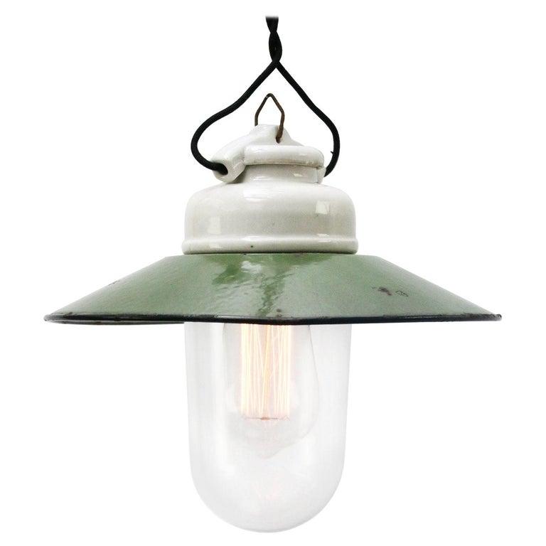 Green Enamel Vintage Industrial Porcelain Clear Glass Pendant Lights For Sale