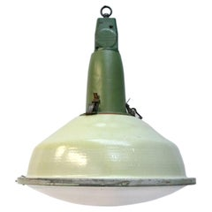 Green Enamel Vintage Industrial Round Clear Glass Pendant Lamp