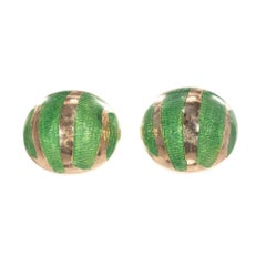 Green Enamel Yellow Gold Button Domed Cufflinks