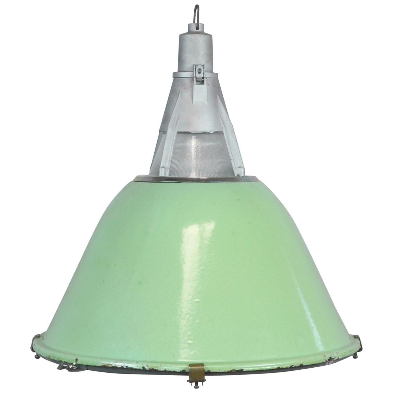 Green Enameled Industrial Pendant Light, 1950s