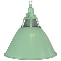Green Enameled Industrial Pendant Light, 1960s
