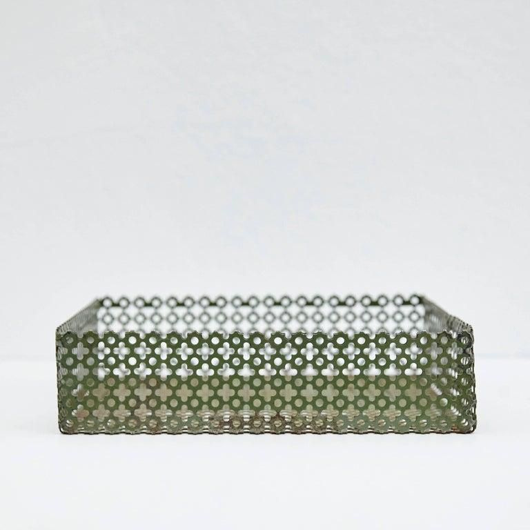 Mid-Century Modern Green Enameled Metal Tray after Mathieu Matégot, circa 1950 For Sale