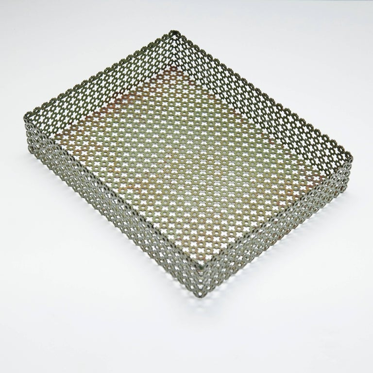 French Green Enameled Metal Tray after Mathieu Matégot, circa 1950 For Sale