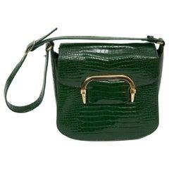Green Faux Alligator Shoulder Bag, Saks Fifth Avenue