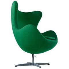 Green Felted Wool Arne Jacobsen for Fritz Hansen Egg Chair, 1980s
