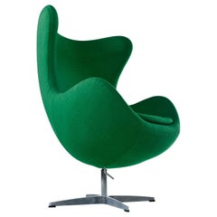 Green Felted Wool Arne Jacobsen for Fritz Hansen Egg Chair, 1980s