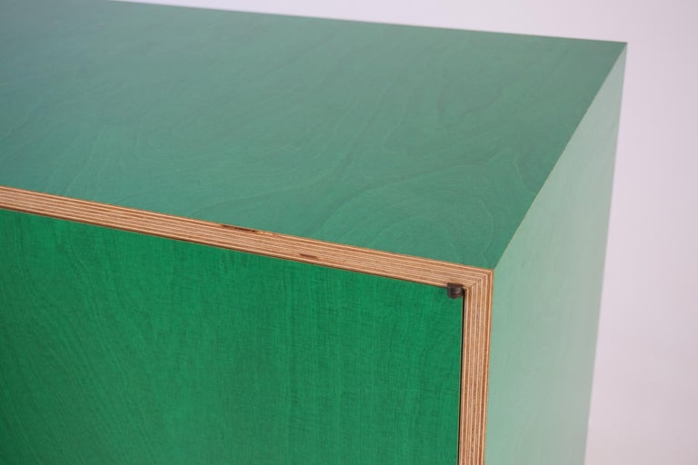 American Green Finn-Ply Cabinet with Bronze Pulls and Turned Bronze Legs For Sale