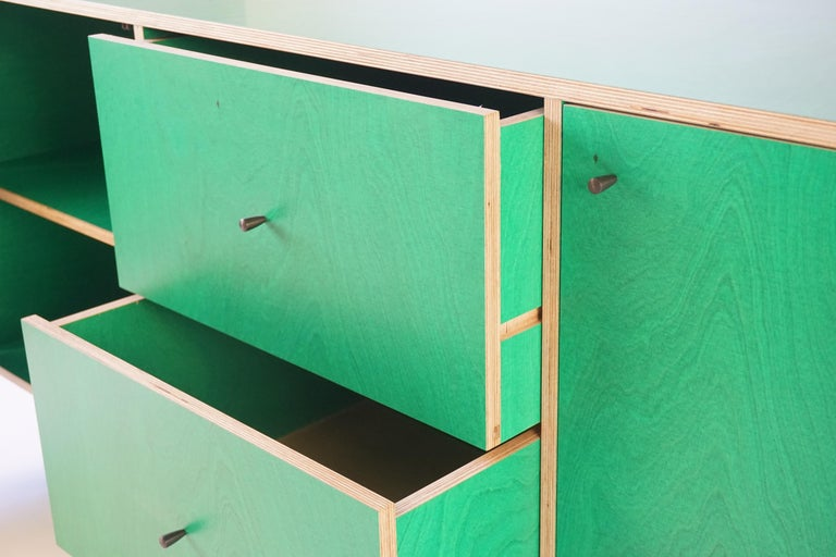 Green Finn-Ply Cabinet with Bronze Pulls and Turned Bronze Legs In New Condition For Sale In Bangall, NY