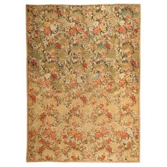 Green Floral Antique Romanian Bessarabian Kilim Rug. Size: 9 ft x 12 ft