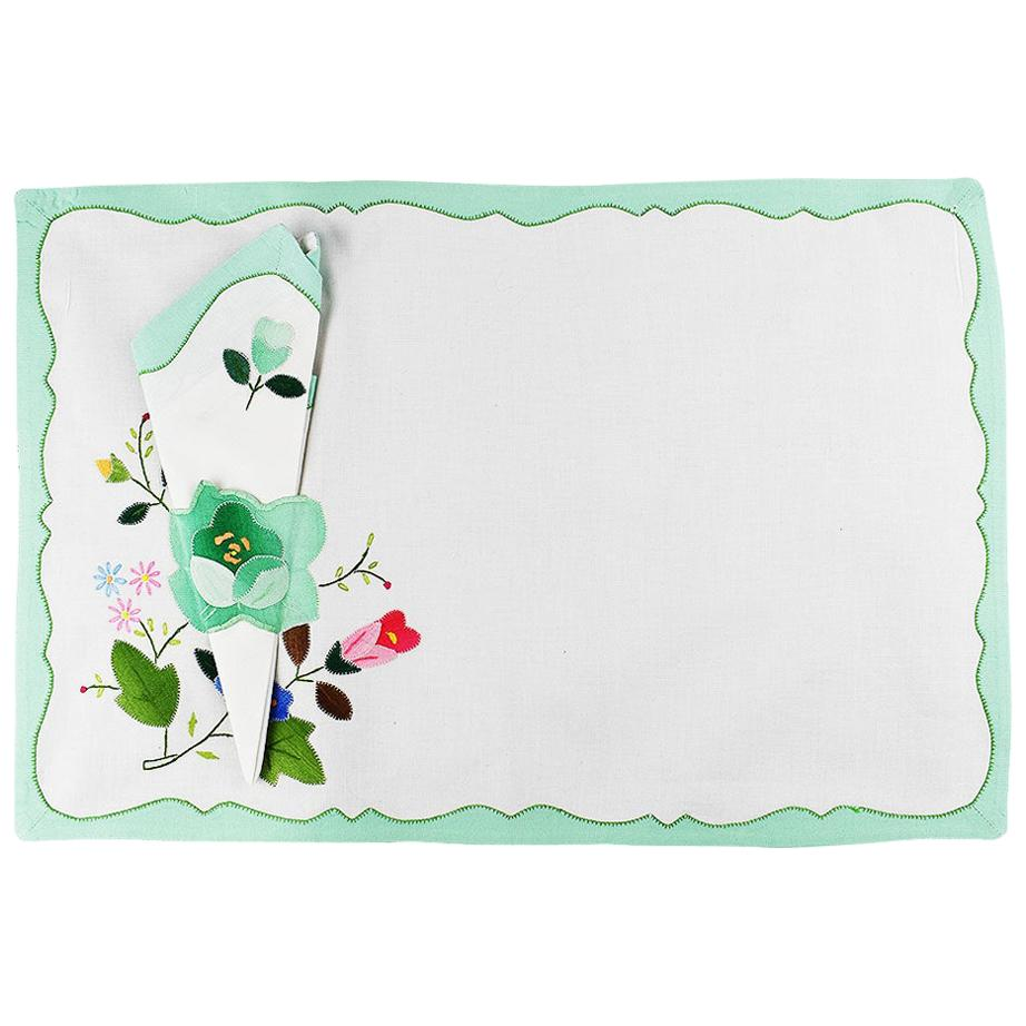 Green Floral Fabric Placemats and Napkins, Set of 6