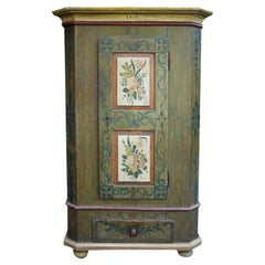 Green Floral Painted Cabinet with Roses, 1812, Central Europe