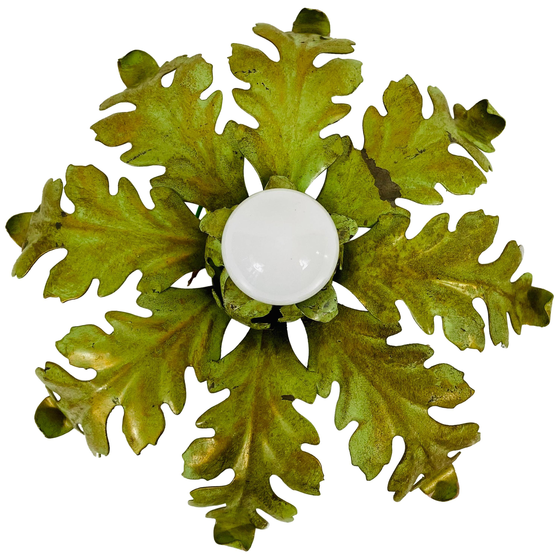 Green Florentine Flower Shape Flushmount Attributed to Banci Firenze, 1950s