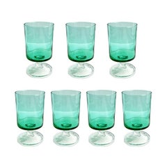 Green French Luminarc Glass Cordial Glassware, Set of 7, 1970s, France