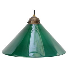 Green French Opaline Glass Shade French Pendant Light