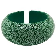 Green Galuchat Cuff Bracelet