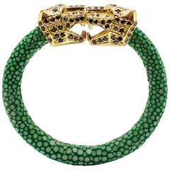Green Galuchat Skin Bangle Bracelet with Panther Head Gold-Plated