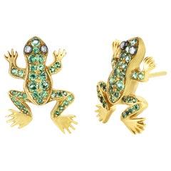 Green Garnet and Diamond Frog Gold Earrings