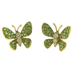 Green Garnet and Round Diamond 18 Karat Gold Butterfly Stud Earrings