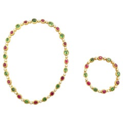 Green Garnet, Diamond and Ruby Parure in 18 Karat Yellow Gold