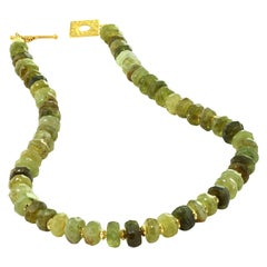 Green Garnet Necklace with Gold Vermeil Clasp January Birthstone