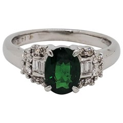Green Garnet Oval and White Diamond Cocktail Ring in 18 Karat White Gold