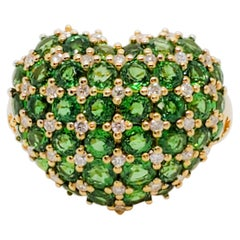 Green Garnet Round and White Diamond Domed Heart Shape Cocktail Ring