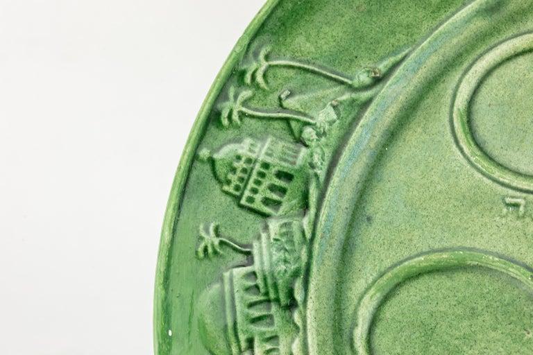 German Post World War II Green Gazed Earthenware Passover Seder Plate For Sale