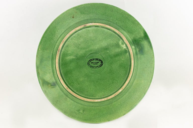 Post World War II Green Gazed Earthenware Passover Seder Plate In Good Condition For Sale In New York, NY