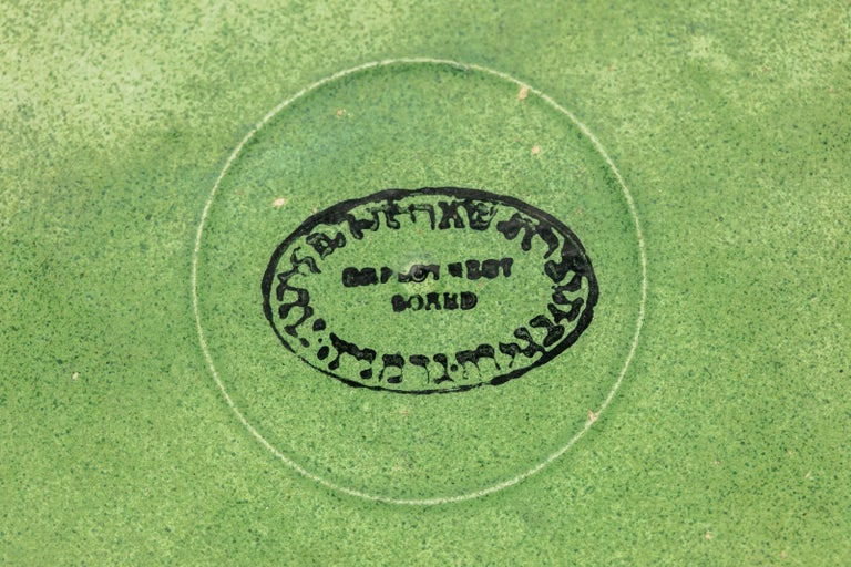 Mid-20th Century Post World War II Green Gazed Earthenware Passover Seder Plate For Sale