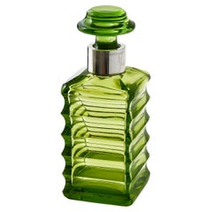 Green Glass Art Deco Square Decanter Germany, circa 1935