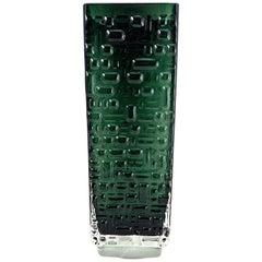 Green Glass by Vase Emil Funke for Gral Glass, 1970s