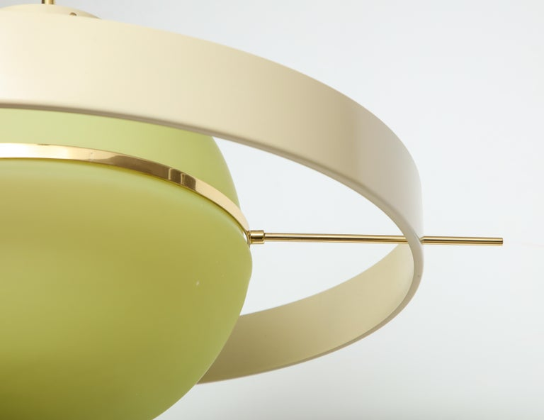 Green Glass Mid Century Satellite Pendant Light, Italy 1950s In Good Condition In New York, NY
