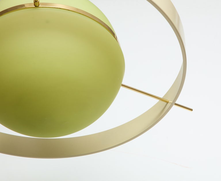 Mid-20th Century Green Glass Mid Century Satellite Pendant Light, Italy 1950s